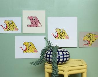 Jaguar's head blockprint / jaguar illustration handprinted postcard / Jaguar maya linocut art print