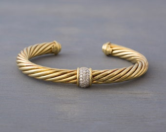 David Yurman 18K Gold Diamond Cable Cuff - Vintage Yurman Yellow Gold Bracelet - Retro Anniversary, Birthday, Valentine's Gift, Wife, Mom