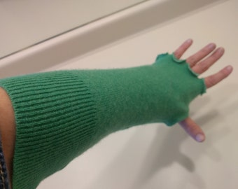 Recycled cashmere fingerless gloves, arm warmers, cashmere mitts, long mittens, green, shamrock, St. Patrick's Day,  recycled sweaters