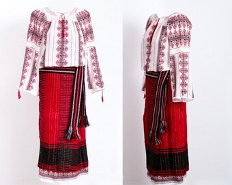 Hand crafted Romanian Folk costume set traditional clothes blouse blouses handmade vyshyvanka Romania skirt