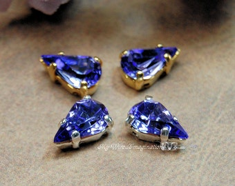 Tanzanite Vintage Glass Cabochon 10x6mm Pears With Prong Setting 2pcs Crystal Sew On Craft Supplies Jewelry Making