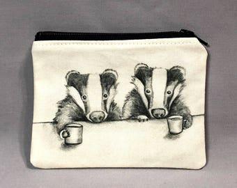 Eyes Wide Open - Small Zipper Pouch - Two Honey Badgers Drinking Coffee - Art by Marcia Furman