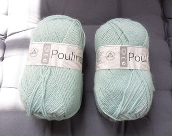 "balls of yarn ""poulinette"" green glacier white horse"