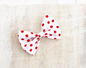 White with red polka dot hair bow on clip Rockabilly Pin Up