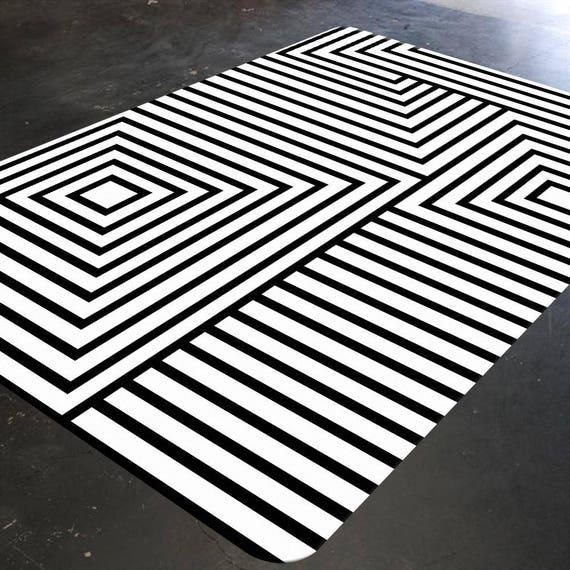 Black And White Rug Geometric Rug Mid Century Modern Rug