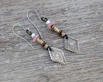 Tribal Drop.  Old Turkoman Silver Drop Earrings.  Tribal, Ancient, Ethnic