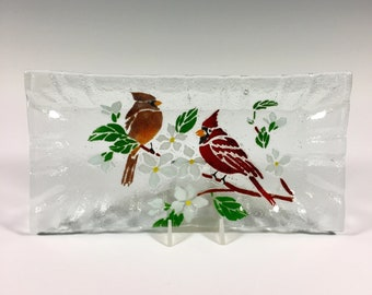 Cardinal Tray, Cardinals, Fused Glass Dish, Birds, Cheese Tray, Flowers