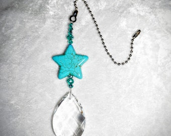 Large Drop Crystal Pendant,  Turquoise Star,  Ceiling Fan Pull,  Crystal Fan Pull,  Unique Light Chain Pulls,  Free Shipping