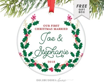 Married Wedding Christmas First Married Christmas Ornament Married Christmas Newlywed Ornament Personalized Christmas Ornaments Wedding Gift