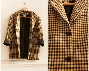 Vintage 90s Blazer Check Print Jacket Womens Medium Gingham Blazer Caramel Brown Black Checkered Jacket Smart Plaid Oversize Blazer Size S M