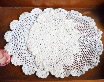 Shabby Lace Crochet Wedding Dollies Set of 2, White Vintage Dollies Rustic Wedding Craft Projects.