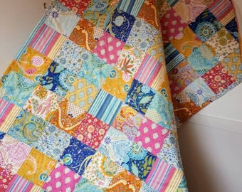 Handmade patchwork quilt, single bed quilt, throw, lap quilt  patchwork blanket, ready to post