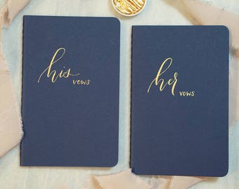 Hand calligraphy wedding vow books - lined paper with pocket