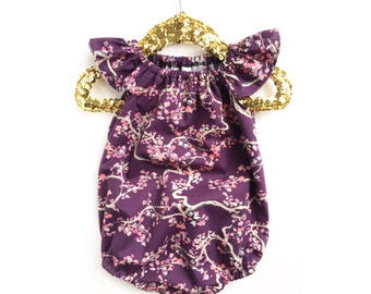 Floral Baby Romper, Purple Romper, Pink Romper, Girls Sunsuit, Toddler Girls Romper, Girls Bubble Romper, Ruffle Romper