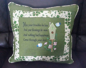Embroidered Pillow with Irish Saying