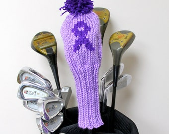 Pancreatic Cancer, Cancer Awareness, Awareness Ribbon, Golf Headcover, Golf Club Cover, Knit Golf Headcovers, Golf Covers, Headcovers