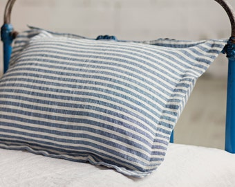 Stonewashed linen sham pillow case, softened linen, striped in blue and off white.
