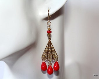 Retro, art deco, gold plated earrings red glass drops