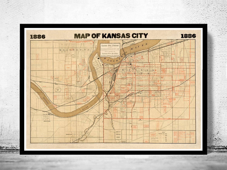 Vintage map of Kansas City Missouri 1886