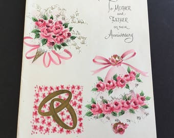 Vintage Anniversary Greeting Card, dainty pink bells & bouquet, silver glitter