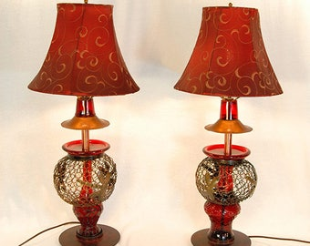 Reclaimed Red Basket Shade Lamp