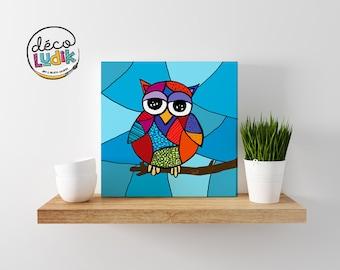 owl canvas print, owl wall art, owl art print, kids room, nursery decor, home decor, print on canvas, owl artwork