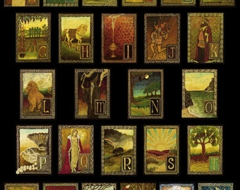 Medieval Alphabet 20x24 Celtic Renaissance Poster Print