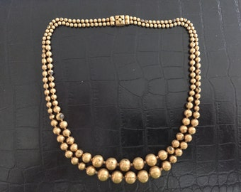 Vintage Art Deco Brass Bead Choker Necklace
