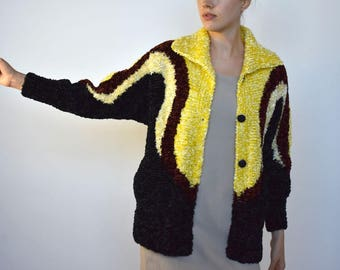 art school sweater -- vintage 70s abstract fuzzy cocoon sweater with pockets -- S/M
