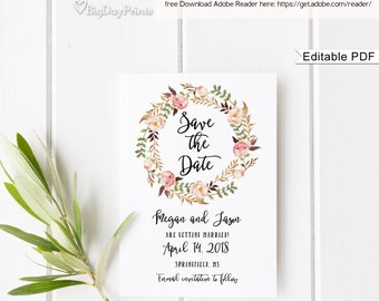 Save the Date Template, Floral Wedding Save the Date, Save the Date Printabl, #A019, Editable PDF - you personalize at home.