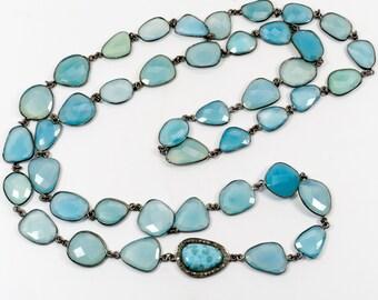 Larimar Pave Diamond Necklace - Blue Chalcedony Necklace - Diamond Pave - Gemstone Jewelry - Layering Necklace - Long Necklace - Bezel Chain