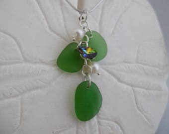 Lime Green Sea Glass Necklace Heart Beach Jewelry Pendant Sterling