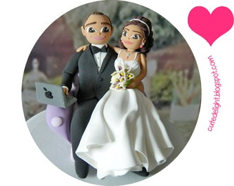 Wedding Cake Topper - CUSTOM cake topper, FUNNY cake topper, wedding topper, wedding toppers, cake toppers wedding, laptop cake topper