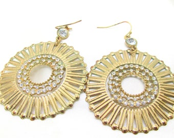 Vintage Gold Circular Rhinestone Dangle Pierced Earrings