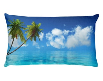 Rectangular Pillow, palm trees and blue sea