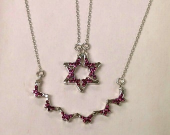 Butterfly Star of David Necklace in Amethyst Crystal