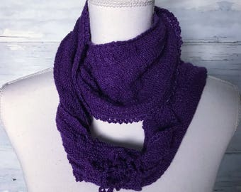 Cowls, infinity scarf ,knitted cowl, silk cowl,  neck warmer ,scarf, circle scarf, crochet neck warmer, purple, gifts for her ,winter scarf