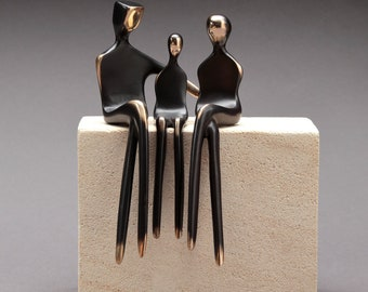 Bronze Family Portrait of Three | Mother's Day or Anniversary Gift | Elegant Contemporary Sculpture | Gifts for Her | By Yenny Cocq