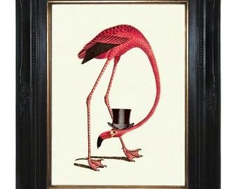 Pink Flamingo Art Print wearing a Top Hat - Victorian Steampunk Art Print Gentleman Bird Natural History
