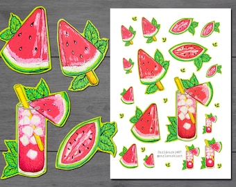 Watermelon Stickers, Summer stickers, Back to School stickers, filofax stickers, planner stickers