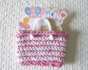 Crocheted Gift Card Holder, Handmade Mini Tote in pink white with Gift Card Sleeve, Chose occasion, Birthday, Baby, Wedding, or Housewarming