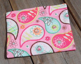 Reusable Snack Bag - Single Bag in Pink Paisley
