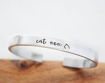 Cat Mom Gift - Cat Mom Bracelet - College Graduation Gift for Her - Cat Lover Gift - Hand Stamped Bracelet Cuff