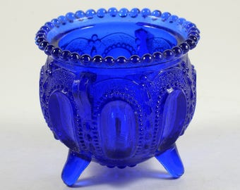 Vintage Cobalt Blue Footed Vessel