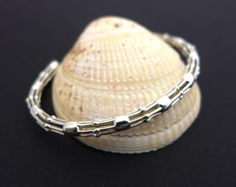Skeletonema Bracelet - Science Jewelry - Marine Biology Gift - Science Wedding - Nerd Gift for Her - Sterling Silver - Metal 3D printing