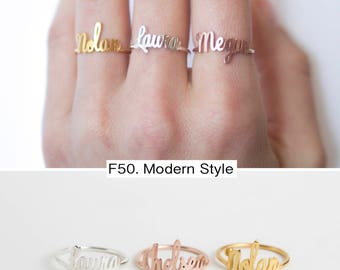 Custom Name Ring in Sterling Silver • Bridesmaids Jewelry • Personalized Jewelry • Dainty Name Ring • Gift for Her • Mother Gift • RM02F50