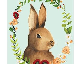 Bunny Blue Illustration - Archival Print 8x11