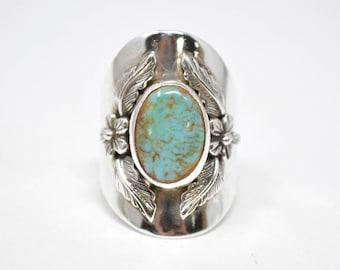 Vintage Southwestern Designer Carol Felley Turquoise Sterling Silver Ring - 7 - Wide Band - 594626923