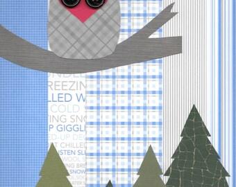 """Original Paper Collage - 9"""" x 12"""" - Winter Wonderland #4"""