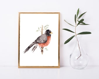 PRINT ONLY, 8.5x11 Robin, Bird Watercolor Painting